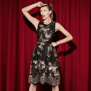 Maje Russia Holiday Sequin Fit and Flare Dress